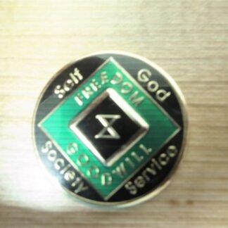 13 Year NA Tri-Plate Green Medallion
