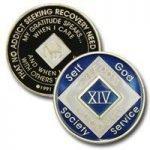 Blue Tri-Plate Medallions 14 Year Blue NA Tri-Plate Medallion