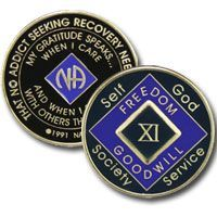 33 Year Tri-Plate Purple NA Medallion