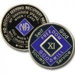 Purple Tri-Plate Medallions 21 Year Tri-Plate Purple NA Medallion