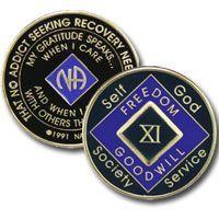 21 Year Tri-Plate Purple NA Medallion