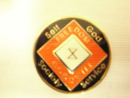 Orange 15 Year Tri-Plate Medallion