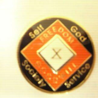 Orange 13 Year Tri-Plate Medallion