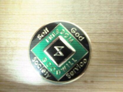 6 Year NA Tri-Plate Green Medallion