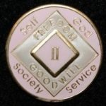 Pink Tri-Plate Medallions 1 Year NA Tri-Plate Pink Medallion