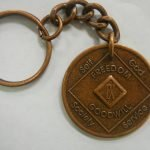 Antiqued Medallion Key Chain 42 Year Medallion Key Chain