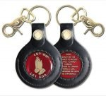 Keychain Medallion Holders and Metal Key Tags NA Leather Key Fob Gold