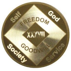 28 Year Laser Etched NA Medallion