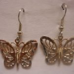 NA Sterling Silver Jewerlry Small Butterfly Hook Earrings