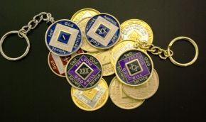 NA Key Chain Medallion Holder Gold Tone
