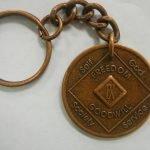 Antiqued Medallion Key Chain 45 Year Medallion Key Chain