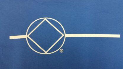 Ladies Poly T-Shirt Blue Symbol Front