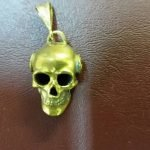 NA Sterling Silver Pendants Sterling Silver Brass Skull and Chain