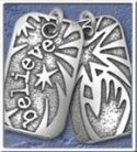 "NA Sterling Silver Pendants Sterling Silver Dog Tagz – Large  1 3/8"" X 3/4"" Courage"