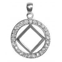 Sterling Silver NA Symbol in circle 26 CZ's