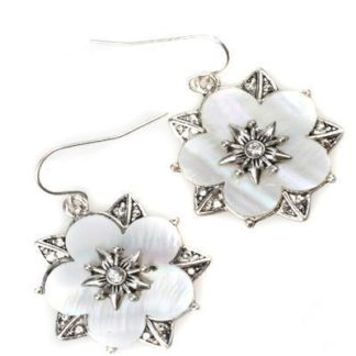 White Shell Flower Earrings