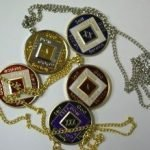 Keychain Medallion Holders and Metal Key Tags NA Medallion Keychain Gold