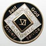 Black Tri-Plate Medallions 1 Year Tri-Plate Medallion Black