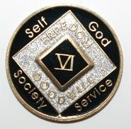 1 Year Tri-Plate Medallion Black