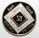 Black Tri-Plate Medallions 6 Year Tri-Plate Medallion Black