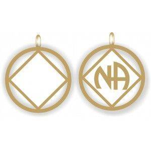 NA Logo Pendant Gold and White