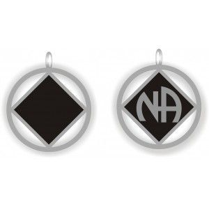 Double Sided Key Tag Silver and Black NA Pendant