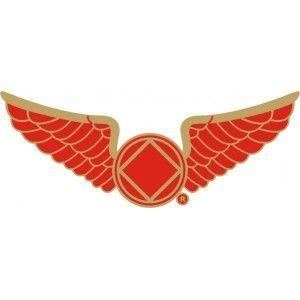 Wings Red Gold Trim Lapel Pin