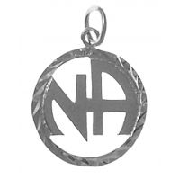 Sterling Silver NA Logo Inside Diamond Cut Cir