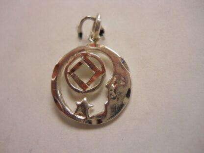 Sterling Silver NA Symbol Moon Pendant