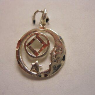 Sterling Silver Moon Star NA Symbol NA Pendant